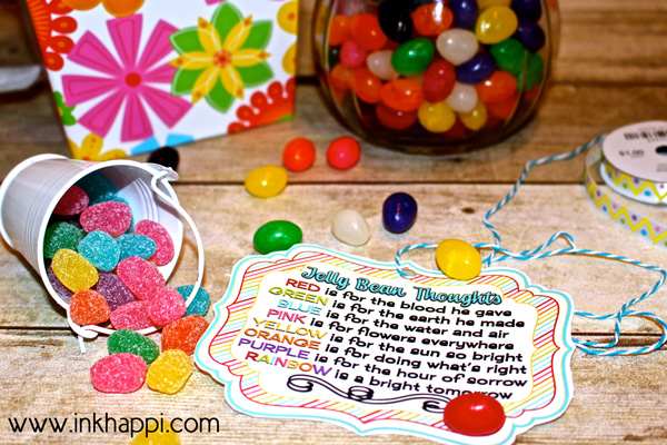 Jelly Bean facts and some cute printables with what the colors of jelly beans stand for in relation to Easter. Theses are great to use as a teaching tool for kids or to gift to others!