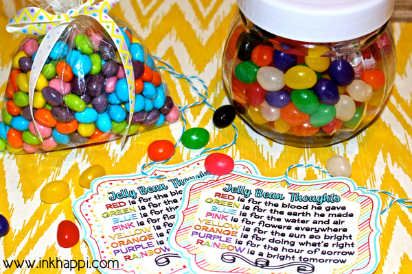 Add these to your kids easter baskets! Jelly Bean facts and some cute printables with what the colors of jelly beans stand for in relation to Easter. Theses are great to use as a teaching tool for kids or to gift to others!