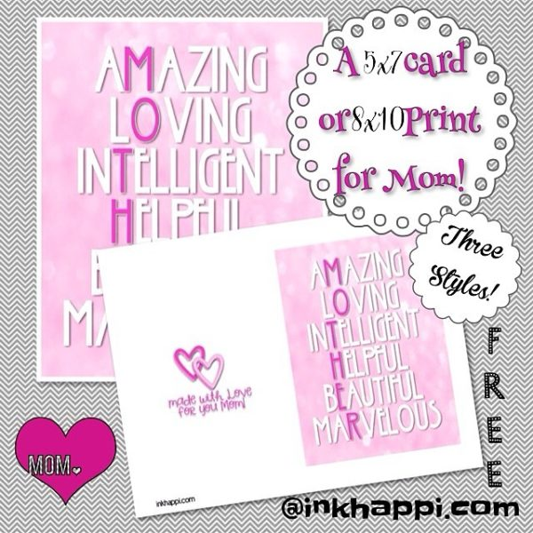 One of three styles of free printable cards and prints to show your love for Mom. Quick and easy and you add your own special message!