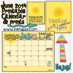 "June 2014 calendar from inkhappi.com along with some ""Sunshine"" free printables."