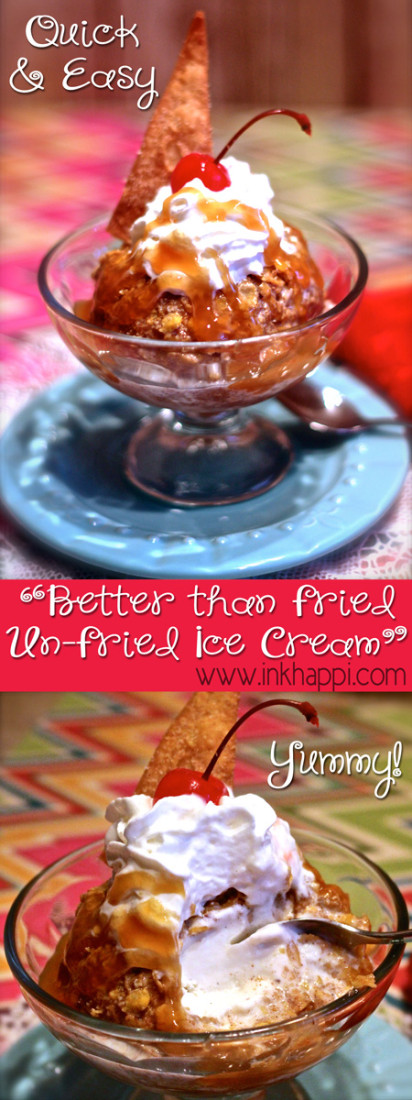 Un-fried, fried ice cream. This is quick, easy and seriously so so good! Much better than fried. See recipe for secret ingredient that makes it so good!