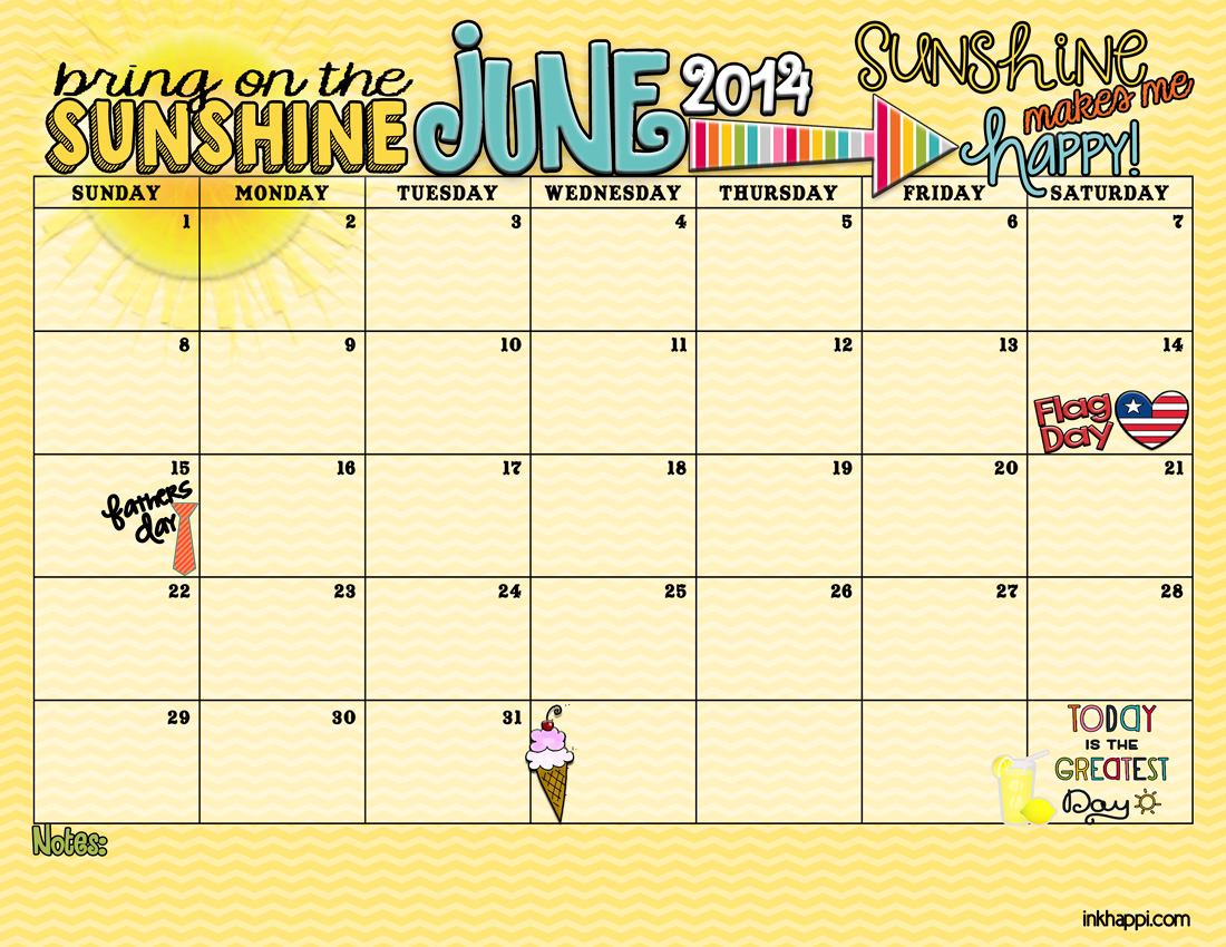 Cute June 2014 Calendar Printable