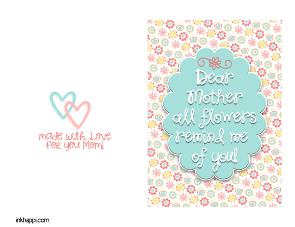 Mothers Day printables. Cards and prints and some helpful hints to make mom smile at inkhappi.com! #mothers #cards #Freeprintables #giftideas