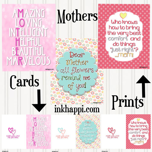 Mother's Day printables. Cards and prints and some helpful hints to make mom smile at inkhappi.com! :):)
