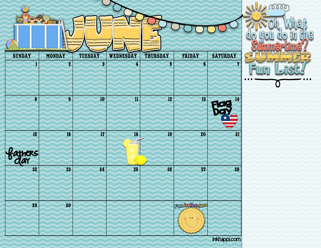 Calendar Ideas For June : Summer activities and free printable calendars inkhappi
