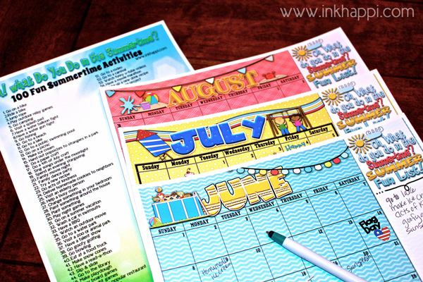 Summertime fun ideas and free printable planning calendars!