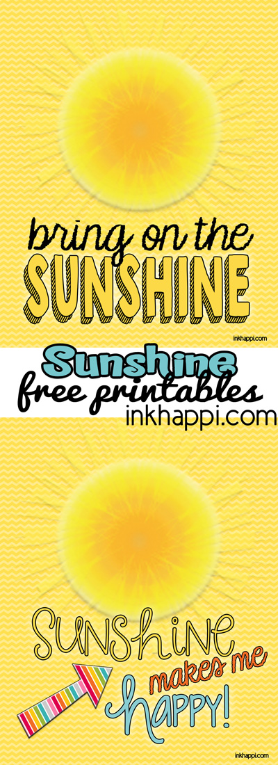"Cute! ""Sunshine"" free printables that go with the June 2014 calendar from inkhappi.com."