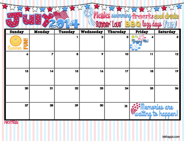 """Memories are waiting to happen""... Free printable July 2014 calendar from inkhappi.com"