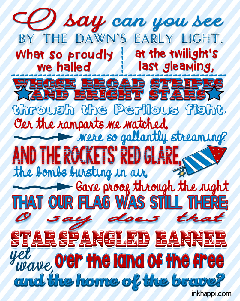 The Star Spangled Banner ...Some Facts and Printables - inkhappi