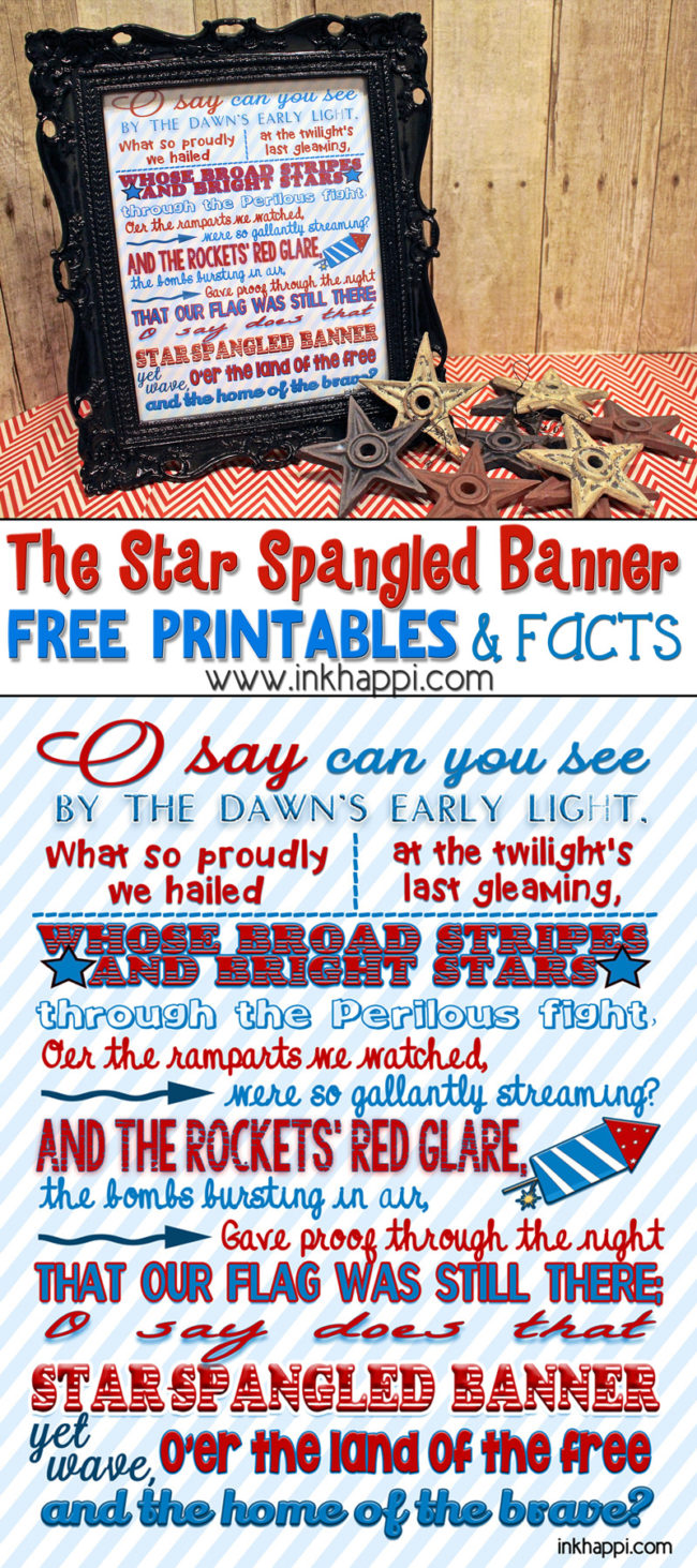 picture regarding Words to the Star Spangled Banner Printable identified as The Star Spangled Banner Some Data and Printables - inkhappi