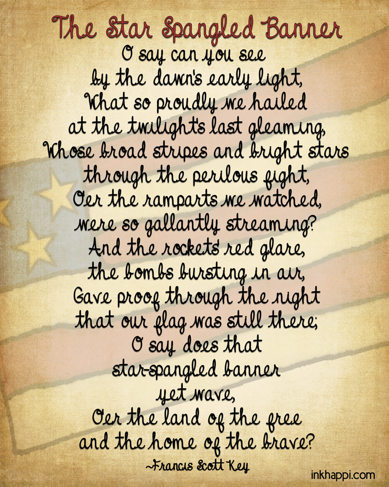 photo about Words to the Star Spangled Banner Printable referred to as The Star Spangled Banner Some Details and Printables - inkhappi