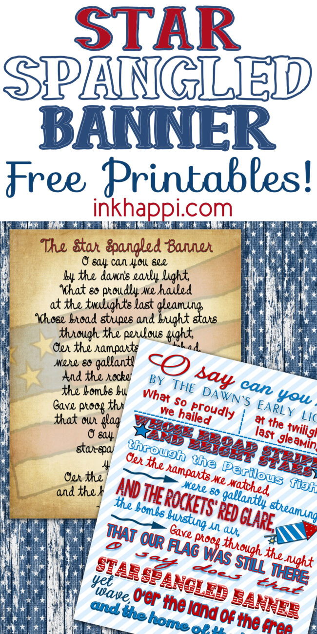 Star Spangled Banner facts and free printables! #freeprintables #starspangledbanner #patriotic