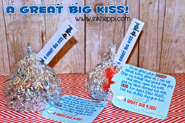 A giant rice krispie kiss with printable labels and a tag  for a gift for Daddy!