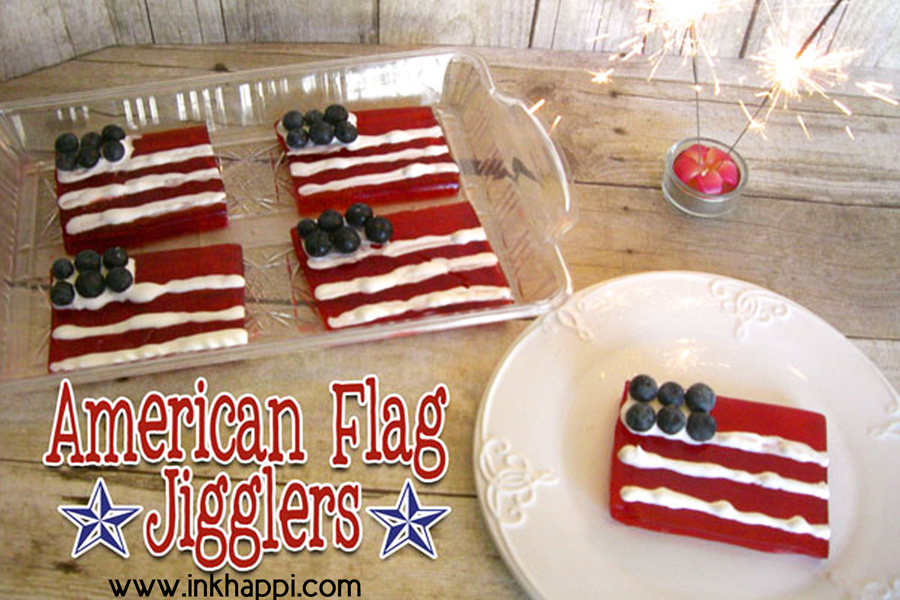 """American Flag Jello Jigglers"" recipe. A fun way to show some patriotism and the kids love it! #jellojigglers #recipe #patriotic#4thofJuly"