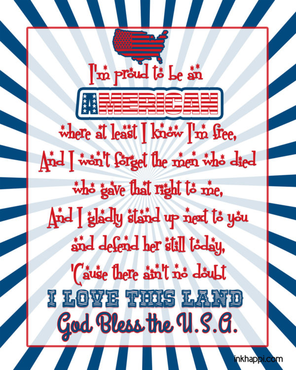 I'm proud to be an American! Free printable using free patriotic fonts shared with lots of font download links at inkhappi.com