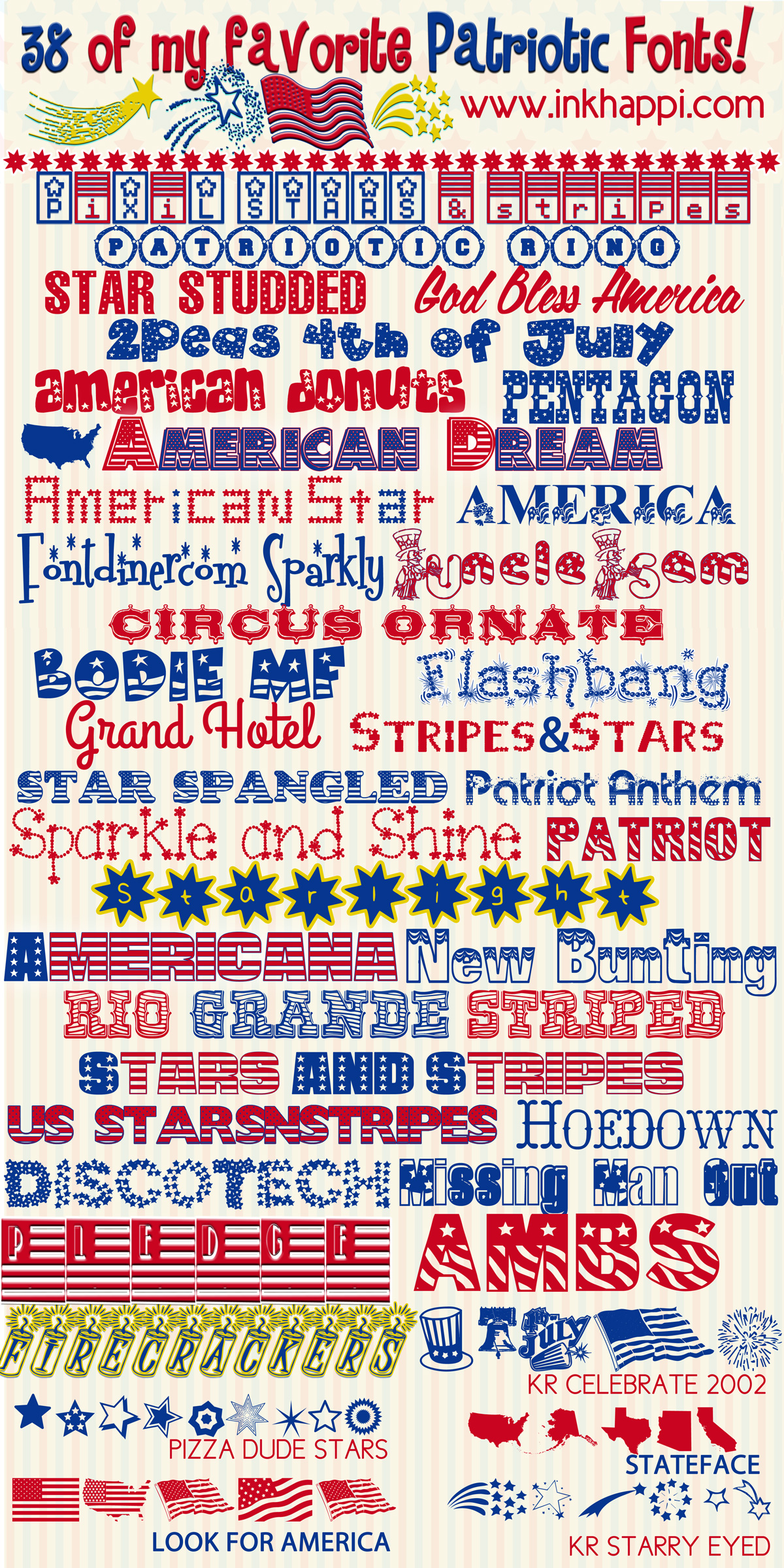 38 of the best free patriotic fonts with download links at inkhappicom along with
