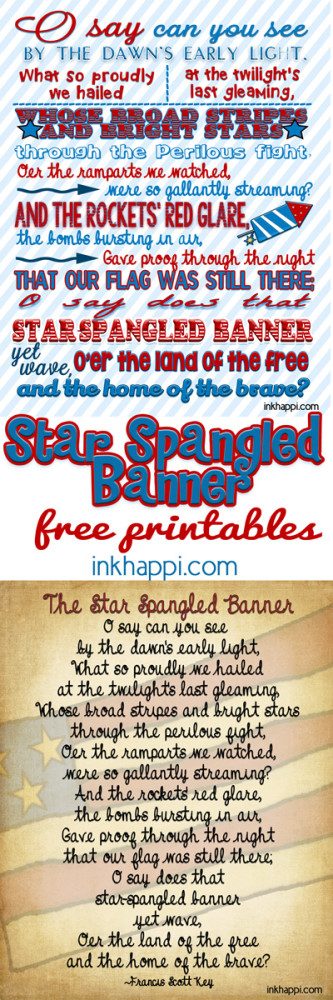 Star Spangled Banner cute free printables from inkhappi.com