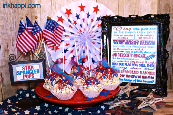 "Popcorn Balls gone Patriotic with a ""surprise"" . Recipe & printable"