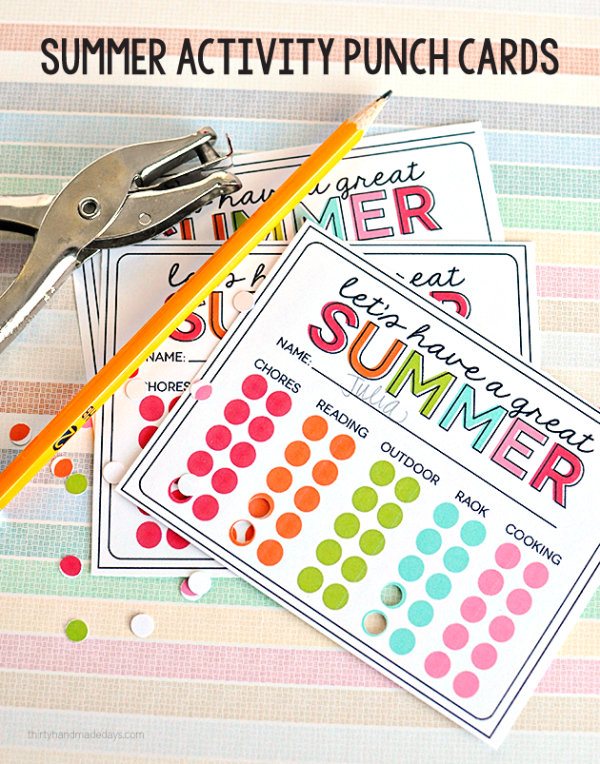 "Summer Activity Punch Cards to prevent ""Mom I'm bored"" all summer long! Print out and get punching!!"