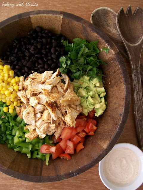Green salad recipes. Southwestern Chopped Chicken Salad from Baking With Blondie