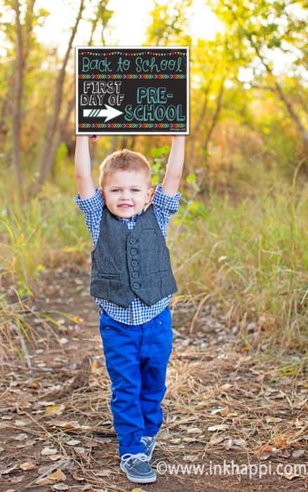 First day of school photo prop signs... free printables from inkhappi.com!