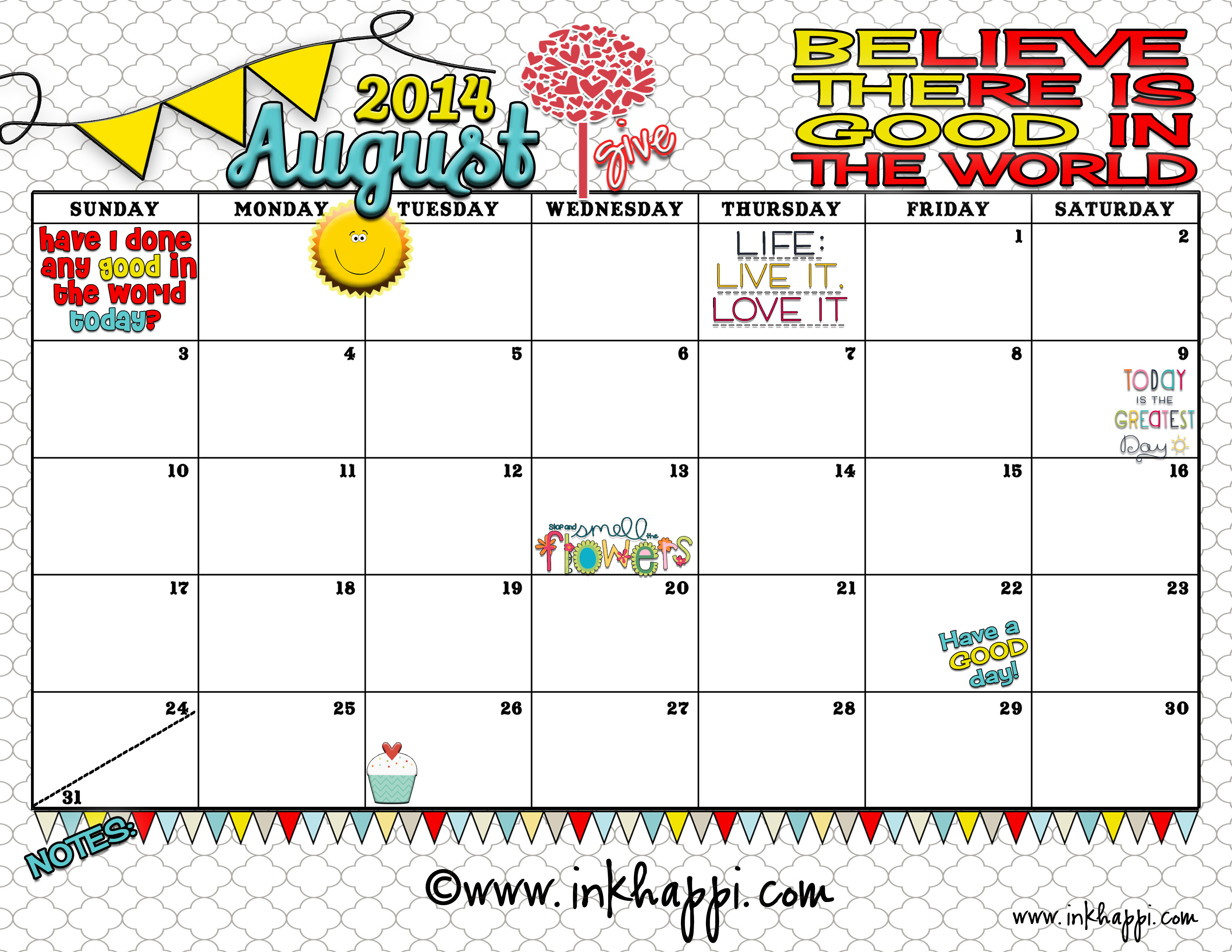 August Calendar 2014 : August calendar is here with a good message inkhappi