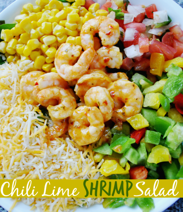 Green salad recipes. Chili Lime Shrimp Salad from Krystals Kitch