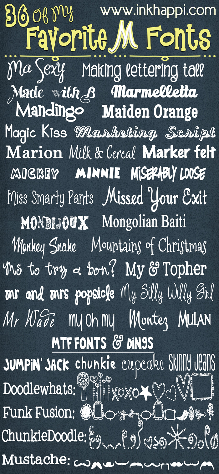 36 of my favorite M Fonts with free download links from inkhappi.com