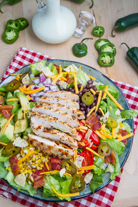 Green salad recipes. Southwestern Grilled Chicken Jalapeno Popper Salad from Closetcooking