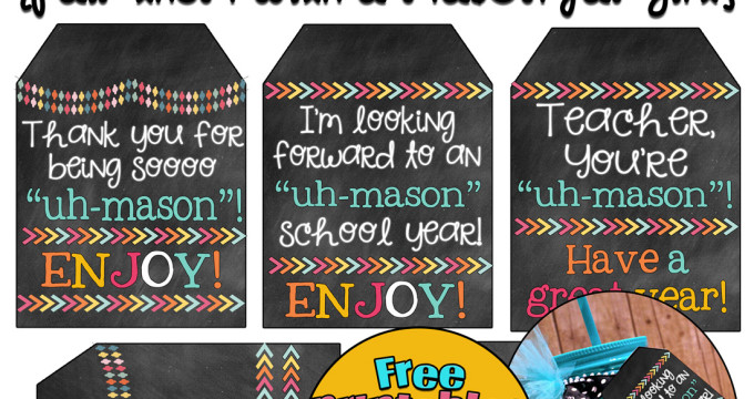 """Start the school year off right with an 'uh-mason"""" teacher gift with these really cute free printable tags. % tags to choose from for variety or other uses. From inkhappi.com"""