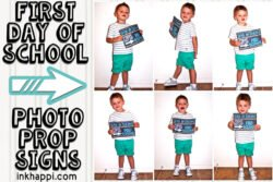Back to school photo prop signs. Free printables! #school #photoprops #firstdayofschool #freeprintables