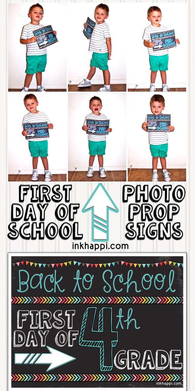 image relating to First Day of 3rd Grade Sign Printable named Initial Working day of Higher education Photograph Prop Indications Totally free Printables
