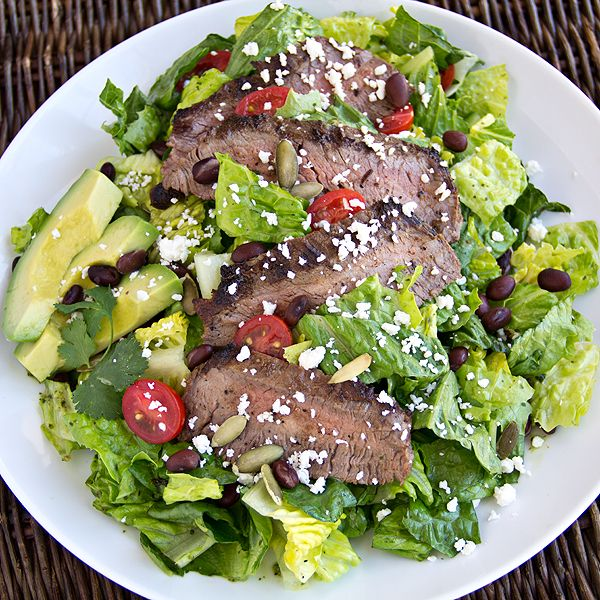 Green salad recipes. Warm, Grilled Steak Salad from The Cozy Apron
