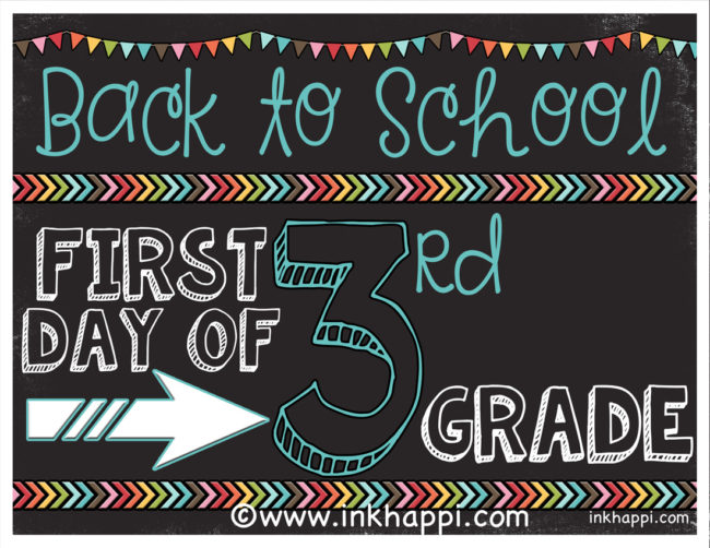 photo about First Day of 3rd Grade Sign Printable named Very first Working day of College or university Picture Prop Indications No cost Printables