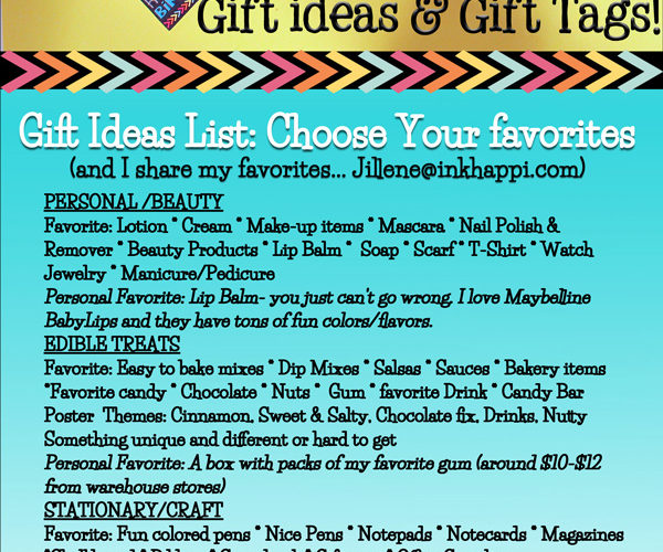 Gift ideas list with ideas of favorite things you usually cant go wrong with. Pick your favorites! Free printable gift tags too at inkhappi.com