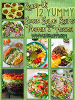 A round-up of 12 Green Salad recipes loaded with protein and veggies. YuMmmm!