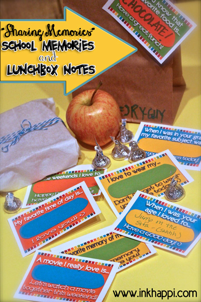 Sharing memories! School memories and lunchbox notes. Free printables from inkhappi.com