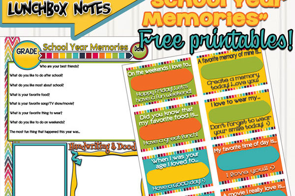 School Year Memories and Co-ordinating Lunchbox Notes!