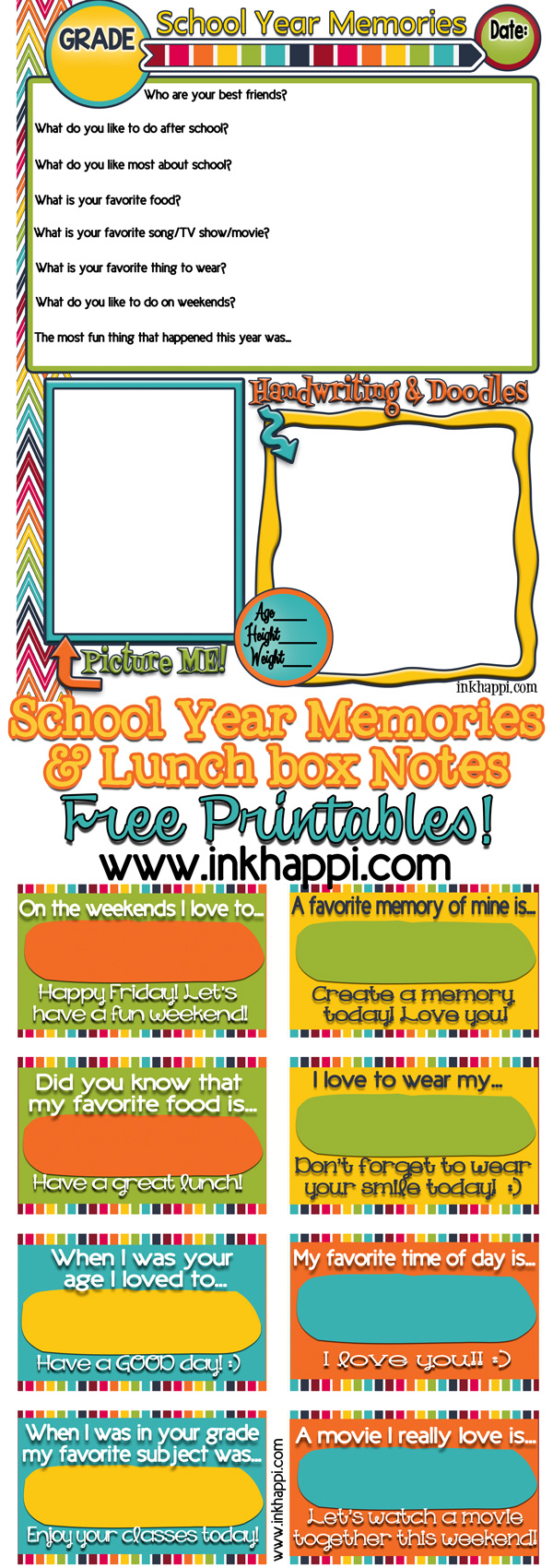 Sharing memories! School year memories and lunchbox notes. Free printables from inkhappi.com