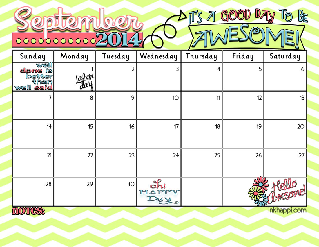 September 2014 Calendar ...Its a good day to be Awesome! - inkhappi