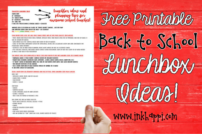 Lots of lunchbox ideas and tips for planning ahead that make school lunches easier. free printable