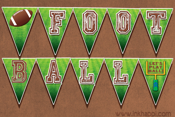Football free printables for the food table and more! including this football banner!