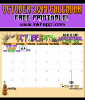 October 2014 Calendar/ Free printable from inkhappi.com