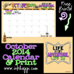 October 2014 Calendar is ready to print!