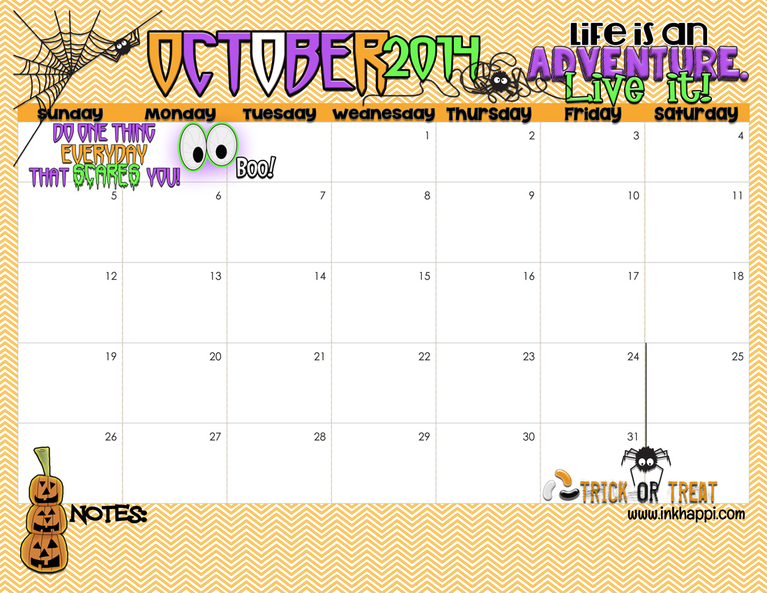 October 2014 Calendar Is Ready To Print Inkhappi