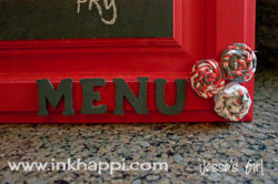 Chalkboard Menu Board crafted from an old cabinet door!
