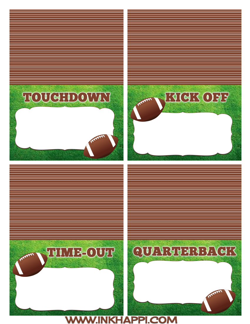 Football free printables for the food table and more! - inkhappi