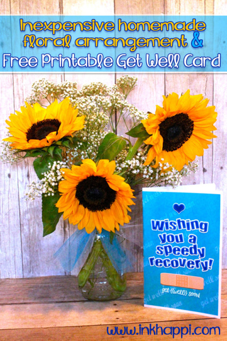 free printable get well card and an inexpensive mason jar floral arrangement from inkhappi.com
