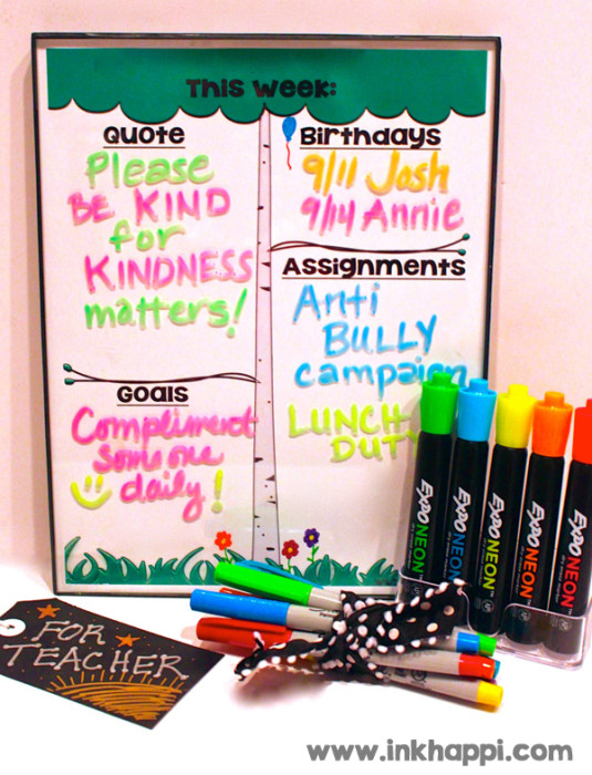 Glass message board using Expo window markers. Tutorial and free printable inserts at inkhappi.com