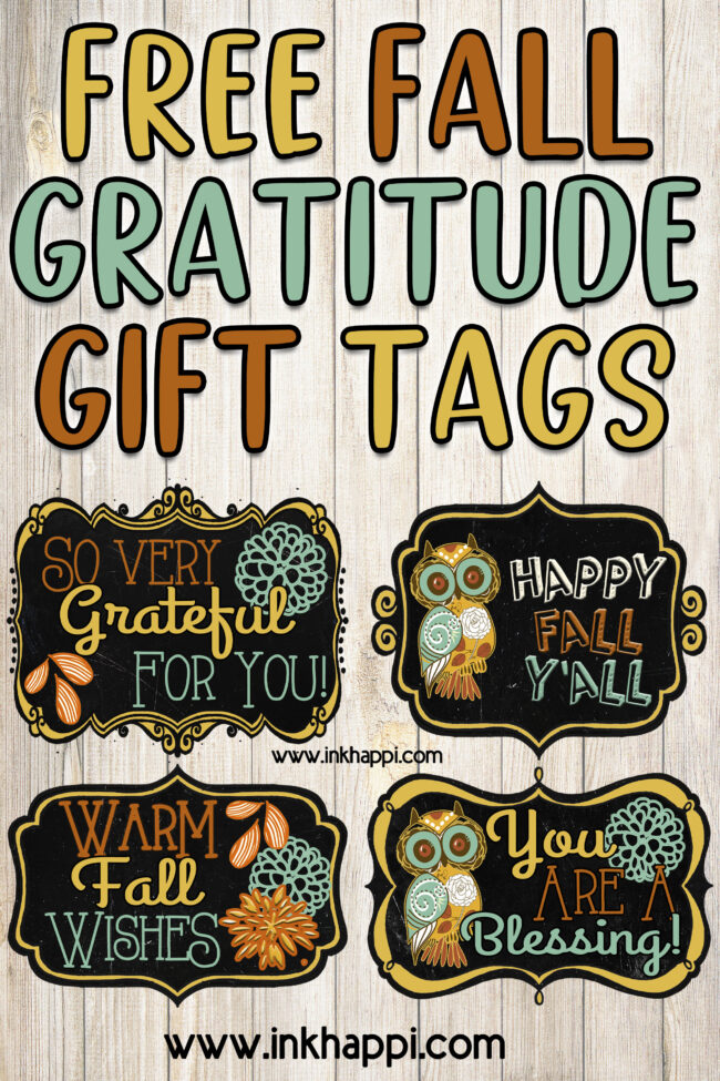 Share your gratitude with these super cute tags to add to a gift of thanks to someone. #freeprintables #gratitude #gifttags